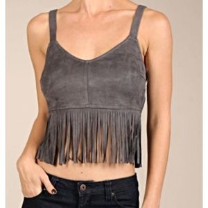 Suede fringe crop top